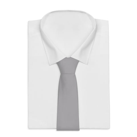 Light Gray Solid Color Printed Soft Satin Finish Necktie Classic Mens Tie - Made in USA-Necktie-One Size-Heidi Kimura Art LLC