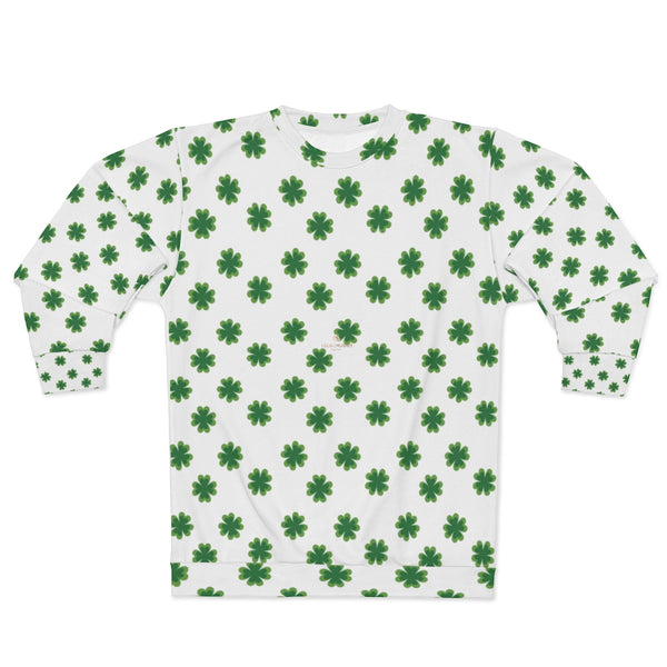 St. Patrick's Day Green Clover Print Unisex Sweatshirt Couples Tops Outfit - Made in USA-Unisex Sweatshirt-Heidi Kimura Art LLC