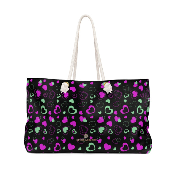 Black Pink Hearts Valentine's Day Designer Weekender Oversized Bag- Made in USA-Weekender Bag-24x13-Heidi Kimura Art LLC