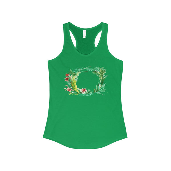 Floral Wreath Designer Floral Women's Ideal Racerback Tank - Made in U.S.A.-Tank Top-Solid Kelly Green-XS-Heidi Kimura Art LLC
