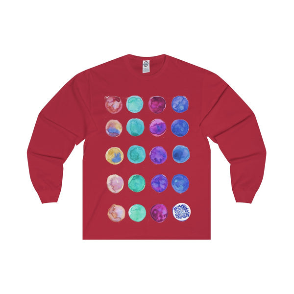 Polka Dots Unisex Designer Premium Long Sleeve Tee - Designed + Made in USA-Long-sleeve-Red-S-Heidi Kimura Art LLC