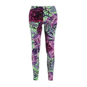 Light Green Rose Floral Print Women's Tights / Casual Leggings - Made in USA (US Size: XS-2XL)-Casual Leggings-M-Heidi Kimura Art LLC