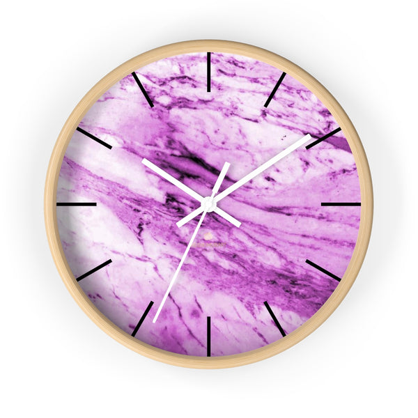 "Pink White Marble Print Art Large Indoor 10"" diameter Designer Wall Clock-Made in USA-Wall Clock-10 in-Wooden-White-Heidi Kimura Art LLC"