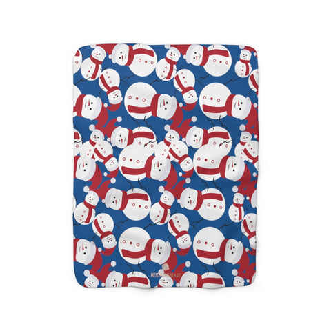 Dark Blue White Red Christmas Cute Fluffy Snowman Print Cozy Sherpa Fleece Blanket-Blanket-50'' x 60''-Heidi Kimura Art LLC