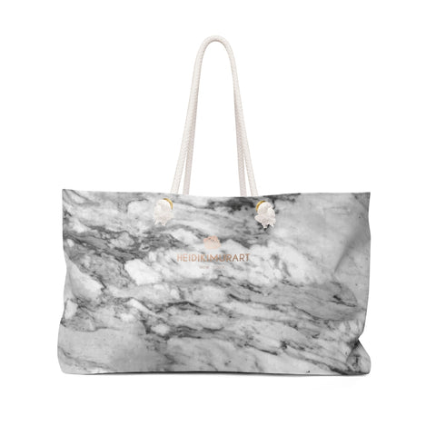 "White Marble Print Designer 24""x13"" Overnight Weekender Bag-Made in USA-Weekender Bag-24x13-Heidi Kimura Art LLC"