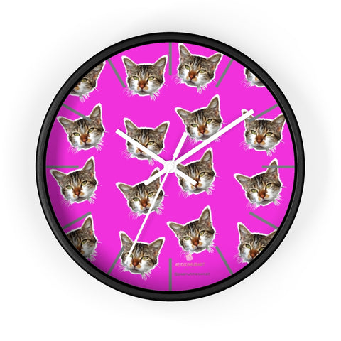 "Hot Pink Cat Print Wall Clock, Calico Cat Large Unique 10"" Dia. Indoor Clocks- Made in USA-Wall Clock-10 in-Black-White-Heidi Kimura Art LLC"