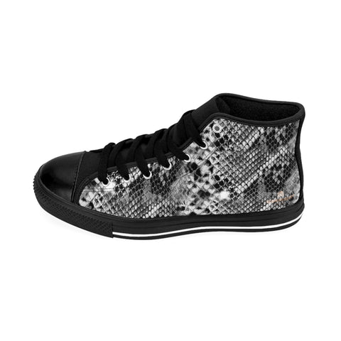 Grey Snake Print Men's Sneakers, Men's Tennis Shoes, Animal Print Designer Best High-tops For Men-Shoes-Printify-Black-US 9-Heidi Kimura Art LLC Grey Snake Print Men's Sneakers, Men's Tennis Shoes, Animal Print Snakeskin Print Men's Fashion Shoes, Men's High Top Sneakers US Size 6-14, Mens High Top Casual Shoes, Unique Fashion Tennis Shoes, Python Snake Print Sneakers, Mens Modern Footwear (US Size: 6-14)