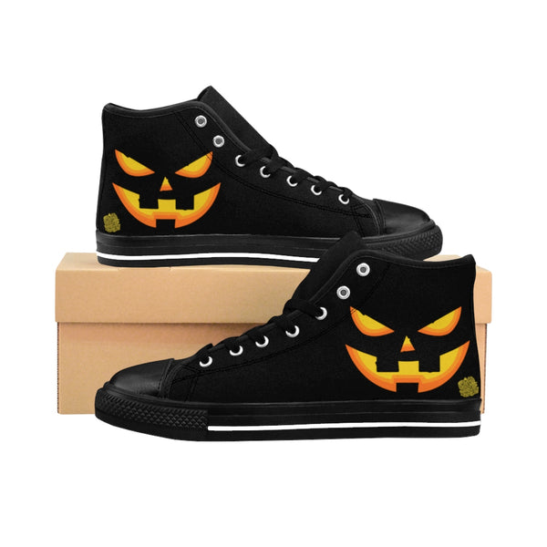 Men's Halloween Orange Creepy Pumpkin Face Men's High-Top Sneakers-Men's High Top Sneakers-Black-US 9-Heidi Kimura Art LLC