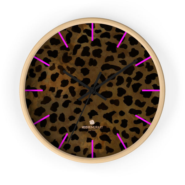 Cheetah Animal Print Designer 10 in. Dia. Indoor Wall Clock- Made in USA-Wall Clock-10 in-Wooden-Black-Heidi Kimura Art LLC