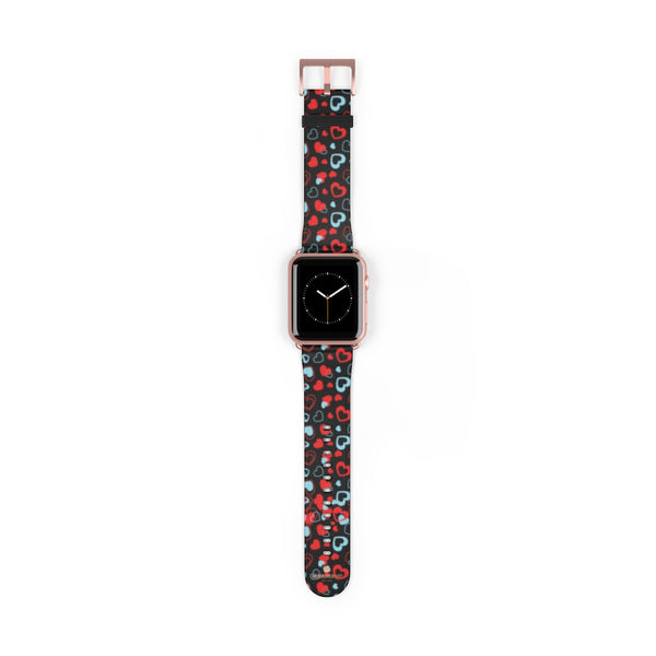 Black Red Hearts Shaped V Day 38mm/42mm Watch Band For Apple Watch- Made in USA-Watch Band-42 mm-Rose Gold Matte-Heidi Kimura Art LLC