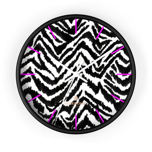 Yuri Black White Zebra Print Designer Best Quality 10 in. Dia. Indoor Wall Clock- Made in USA