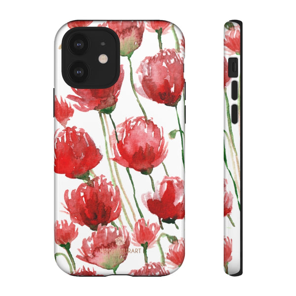 Red Tulips Floral Tough Cases, Roses Flower Print Best Designer Phone Case-Made in USA-Phone Case-Printify-iPhone 12-Glossy-Heidi Kimura Art LLC