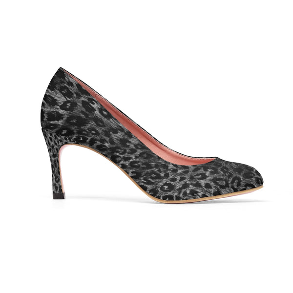 "Black Leopard Women's High Heels, Wild Animal Print 3 inch Fashion Heel Shoes For Ladies-Shoes-Printify-Heidi Kimura Art LLC Black Leopard Women's High Heels, Grey Dark Leopard Wild Animal Print Women's 3"" High Heels Pumps Shoes (US Size: 5-11)"