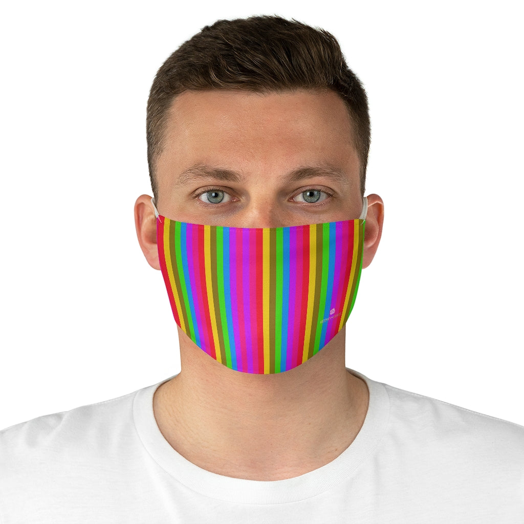 "Rainbow Striped Face Mask, Designer Gay Pride Fashion Face Mask For Men/ Women, Designer Premium Quality Modern Polyester Fashion 7.25"" x 4.63"" Fabric Non-Medical Reusable Washable Chic One-Size Face Mask With 2 Layers For Adults With Elastic Loops-Made in USA"