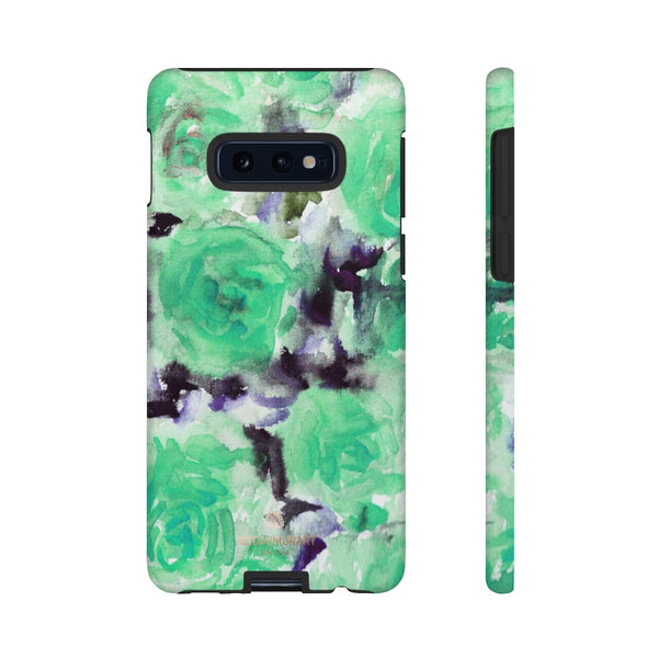 Turquoise Floral Print Tough Cases, Designer Phone Case-Made in USA-Phone Case-Printify-Samsung Galaxy S10E-Matte-Heidi Kimura Art LLC