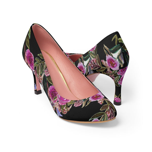 "Black Floral Garden Purple Pink Rose Designer Women's 3"" High Heels Canvas Shoes-3 inch Heels-Pink-US 7-Heidi Kimura Art LLC"