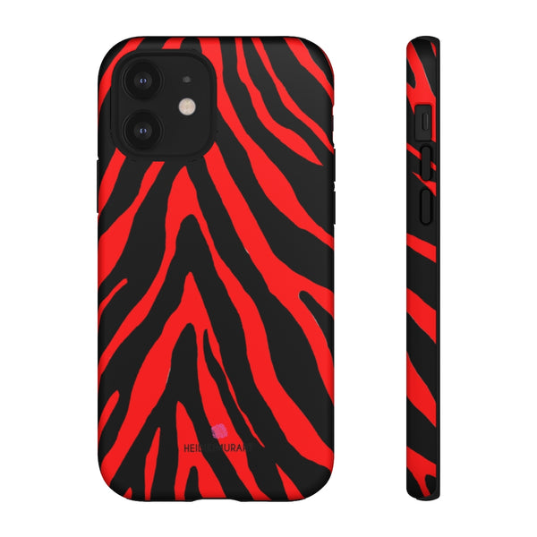 Red Zebra Designer Tough Cases, Animal Print Designer Case Mate Best Tough Phone Case For iPhones and Samsung Galaxy Devices-Made in USA
