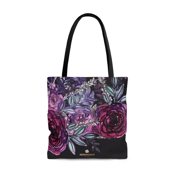 Black Red Rose Flower Floral Print Designer Women's Tote Bag - Made in USA-Bags-Large-Heidi Kimura Art LLC Purple Rose Print Tote Bag, Black Red Rose Flower Floral Print Designer Women's Tote Bag - Made in USA