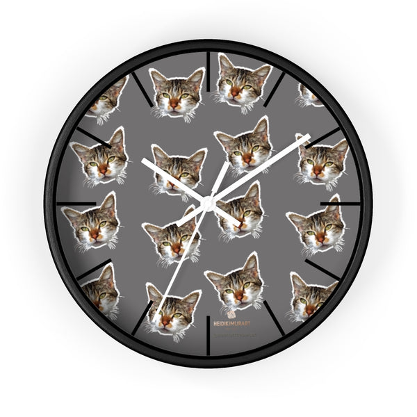 "Gray Cat Print Wall Clock, Cute Calico Cat Unique 10"" Dia. Indoor Wall Clocks- Made in USA-Wall Clock-10 in-Black-White-Heidi Kimura Art LLC"