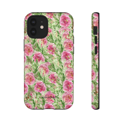 Rose Pink Floral Phone Case, Green And Pink Garden Rose Flower Print Best Designer Art Designer Case Mate Best Tough Phone Case For iPhones and Samsung Galaxy Devices-Made in USA