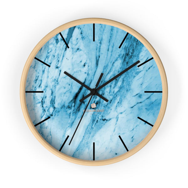 "Blue White Marble Print Art Large Indoor 10"" inch dia. Designer Wall Clock-Made in USA-Wall Clock-10 in-Wooden-Black-Heidi Kimura Art LLC"