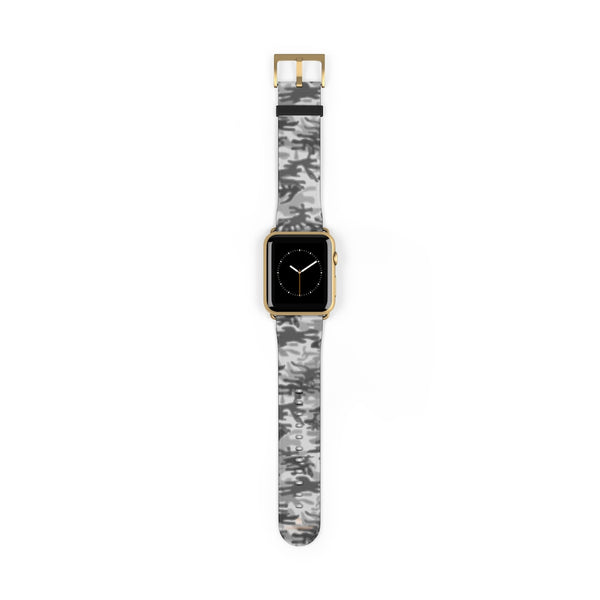 Light Grey Classic Camo Print 38mm/42mm Watch Band For Apple Watch- Made in USA-Watch Band-42 mm-Gold Matte-Heidi Kimura Art LLC