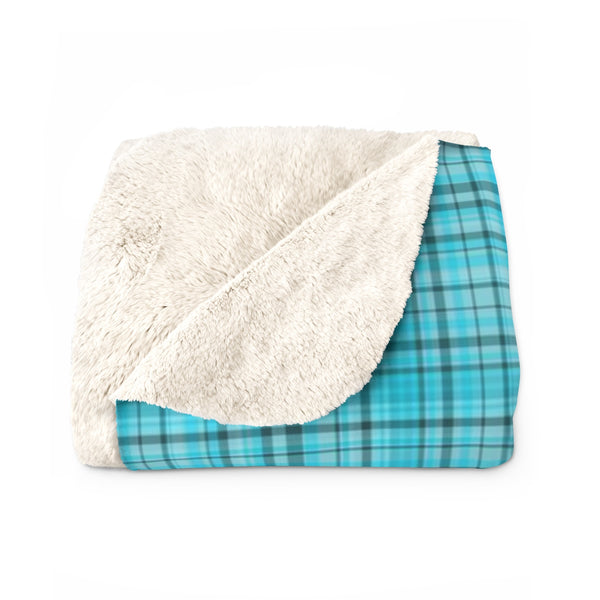 Light Blue Plaid Tartan Print Designer Cozy Sherpa Fleece Blanket-Made in USA-Blanket-50'' x 60''-Heidi Kimura Art LLC