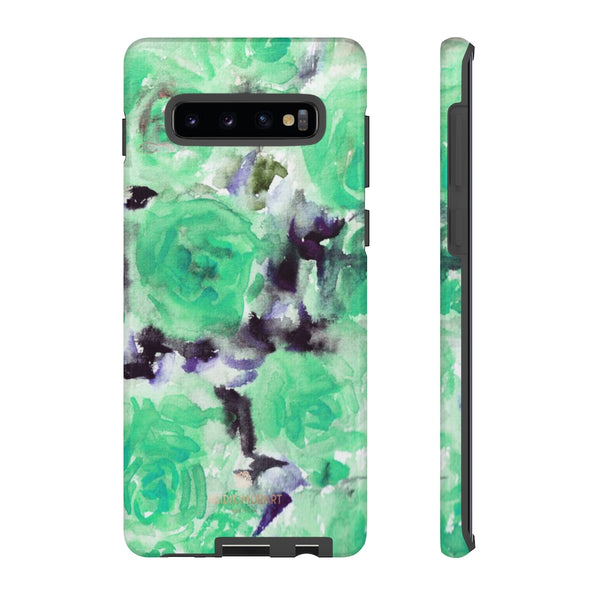 Turquoise Floral Print Tough Cases, Designer Phone Case-Made in USA-Phone Case-Printify-Samsung Galaxy S10 Plus-Glossy-Heidi Kimura Art LLC