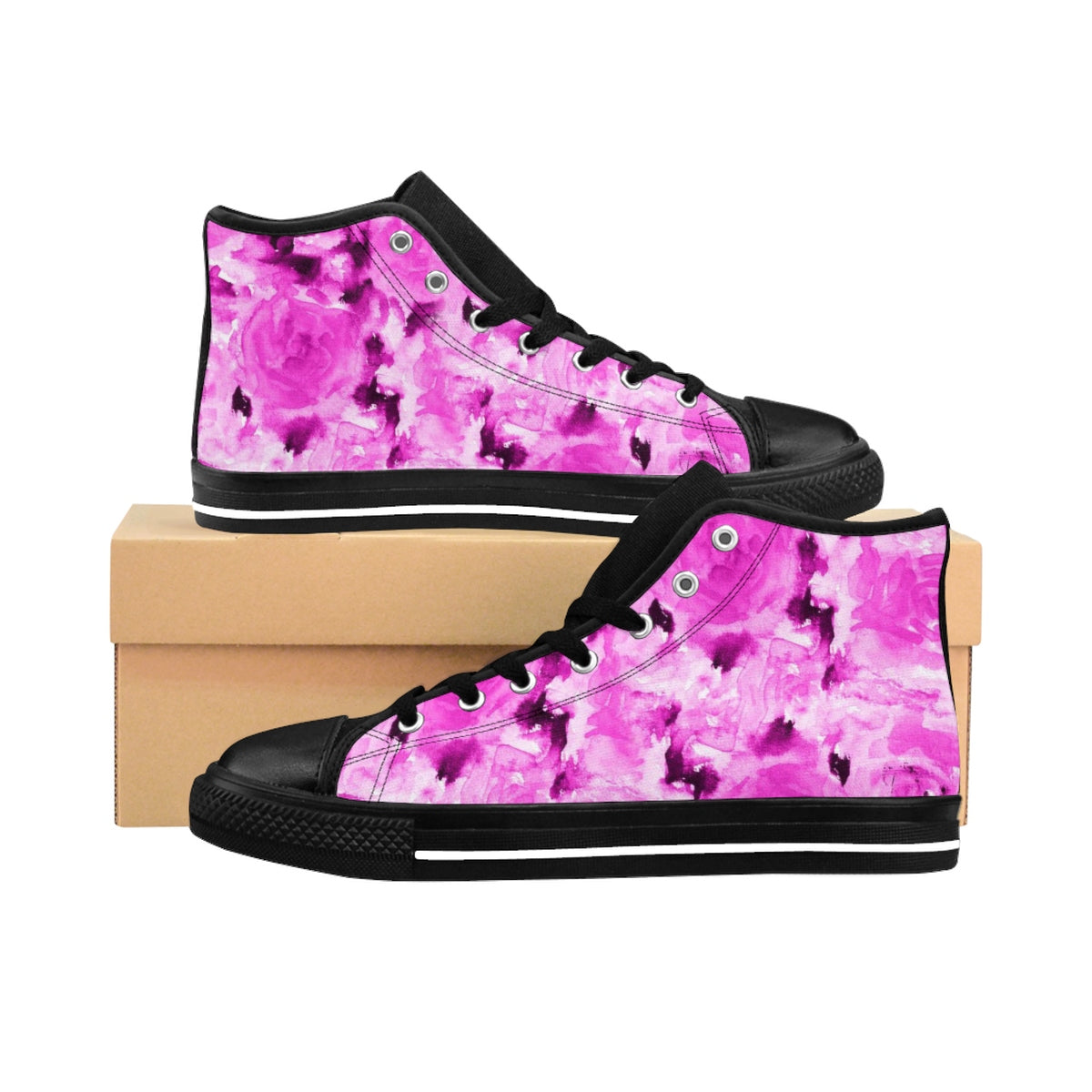 Japanese Princess Rose Floral Print Designer Women's High Top Sneakers Shoes (US 6-12)-Women's High Top Sneakers-US 9-Heidi Kimura Art LLC Pink Rose Women's Sneakers, Japanese Princess Rose Floral Print Designer Women's High Top Sneakers Shoes (US Size: 6-12)