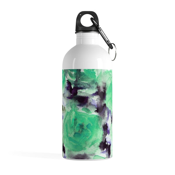 Tane Blue Rose Seed Floral Print Stainless Steel Water Bottle - Made in USA - Heidi Kimura Art LLC