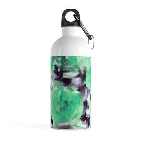 Blue Rose Seed Floral Print Stainless Steel 14 oz Large Water Bottle - Made in USA-Mug-14oz-Heidi Kimura Art LLC