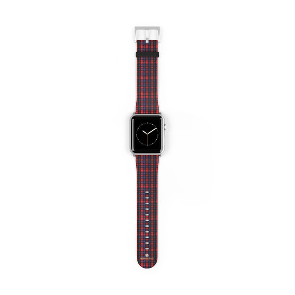 Red Blue Plaid Tartan Print 38mm/42mm Watch Band For Apple Watch- Made in USA-Watch Band-42 mm-Silver Matte-Heidi Kimura Art LLC