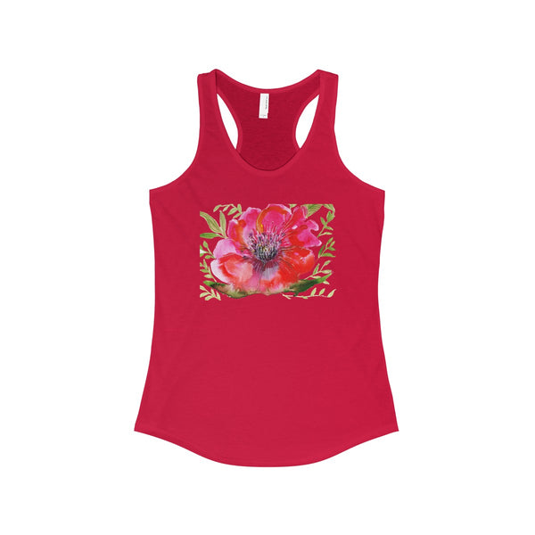Red Designer Best Floral Women's Ideal Racerback Tank - Made in the USA-Tank Top-Solid Red-XS-Heidi Kimura Art LLC