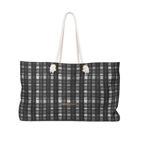 "Black White Plaid Tartan Print Oversized Designer 24""x13"" Large Weekender Bag-Weekender Bag-24x13-Heidi Kimura Art LLC Black Plaid Weekender Bag, Black White Plaid Tartan Print Oversized Designer 24""x13"" Large Weekender Bag - Made in USA"