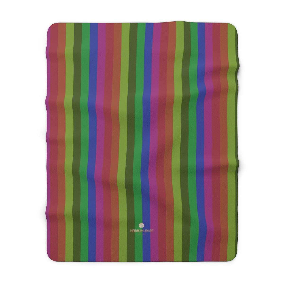 "Vintage Gay Pride Rainbow Striped Print Cozy Sherpa Fleece Blanket-Made in USA-Blanket-60"" x 80""-Heidi Kimura Art LLC"