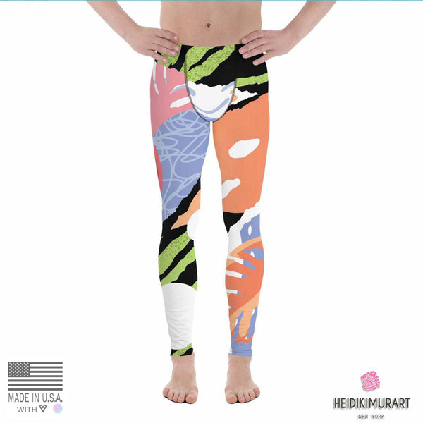 Green Tiger Stripe Tropical Leaf Print Summer Men's Leggings Tights Pants- Made in USA/EU-Men's Leggings-Heidi Kimura Art LLC Tropical Meggings, Green Tiger Stripe Tropical Leaf Print Summer Men's Leggings Tights Pants- Made in USA/EU (US Size: XS-3XL)