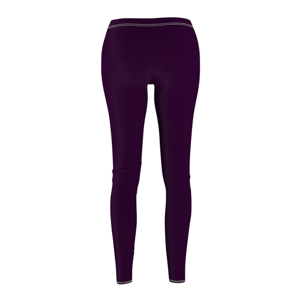 Royal Purple Classic Solid Color Women's Long Skinny Fit Fashion Leggings - Made in USA-Casual Leggings-Heidi Kimura Art LLC