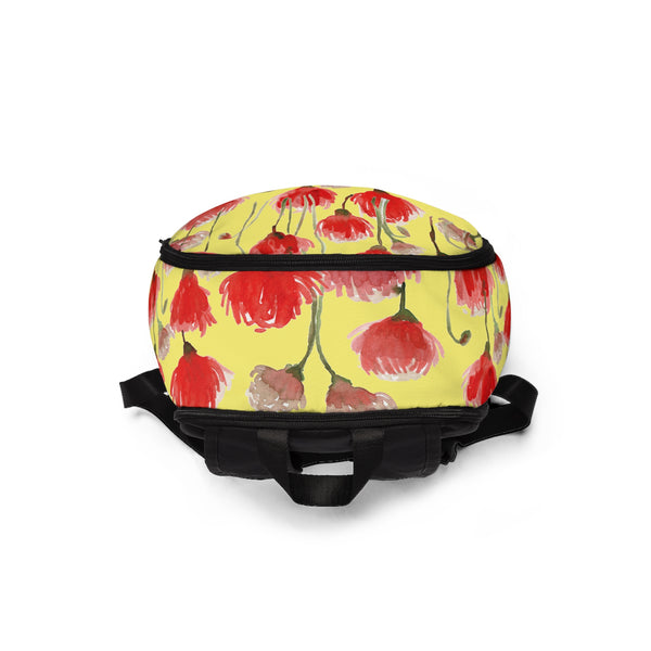 Yellow Red Poppy Flower Floral Print Designer Unisex Fabric Backpack School Bag With Laptop Slot-Backpack-One Size-Heidi Kimura Art LLC