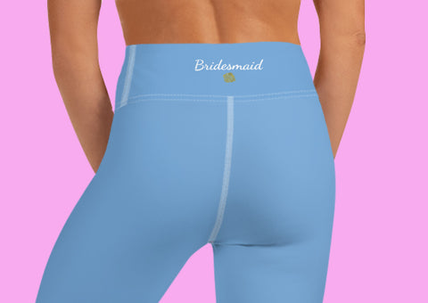 Baby Blue Bridesmaid Capri Leggings, Premium Designer Women's Yoga Capris-Made in USA-Capri Yoga Pants-Heidi Kimura Art LLC