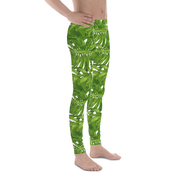 White Green Tropical Leaves Print Men's Leggings Tights Meggings- Made in USA/EU-Men's Leggings-Heidi Kimura Art LLC