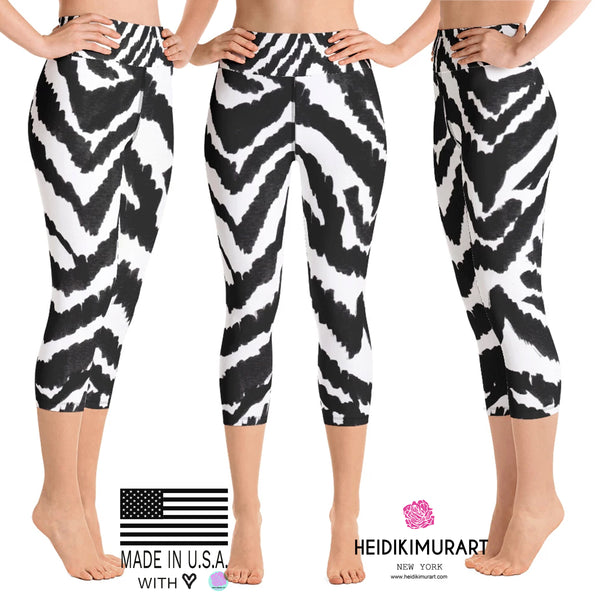 White Black Zebra Stripe Animal Print Women's Yoga Capri Leggings- Made in USA (XS-XL)-Capri Yoga Pants-Heidi Kimura Art LLCZebra Striped Women's Capri Leggings, White Black Zebra Stripe Animal Print Women's Yoga Capri Leggings Pants- Made in USA/EU (US Size: XS-XL)