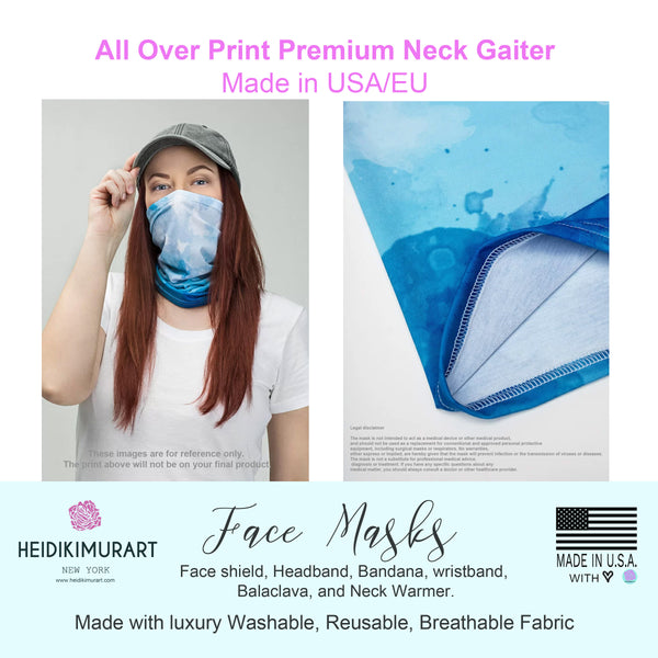 Pink Blue Orchids Floral Face Mask, Reusable Washable Neck Gaiter Face Coverings For Adults-Neck Gaiter-Printful-Heidi Kimura Art LLC