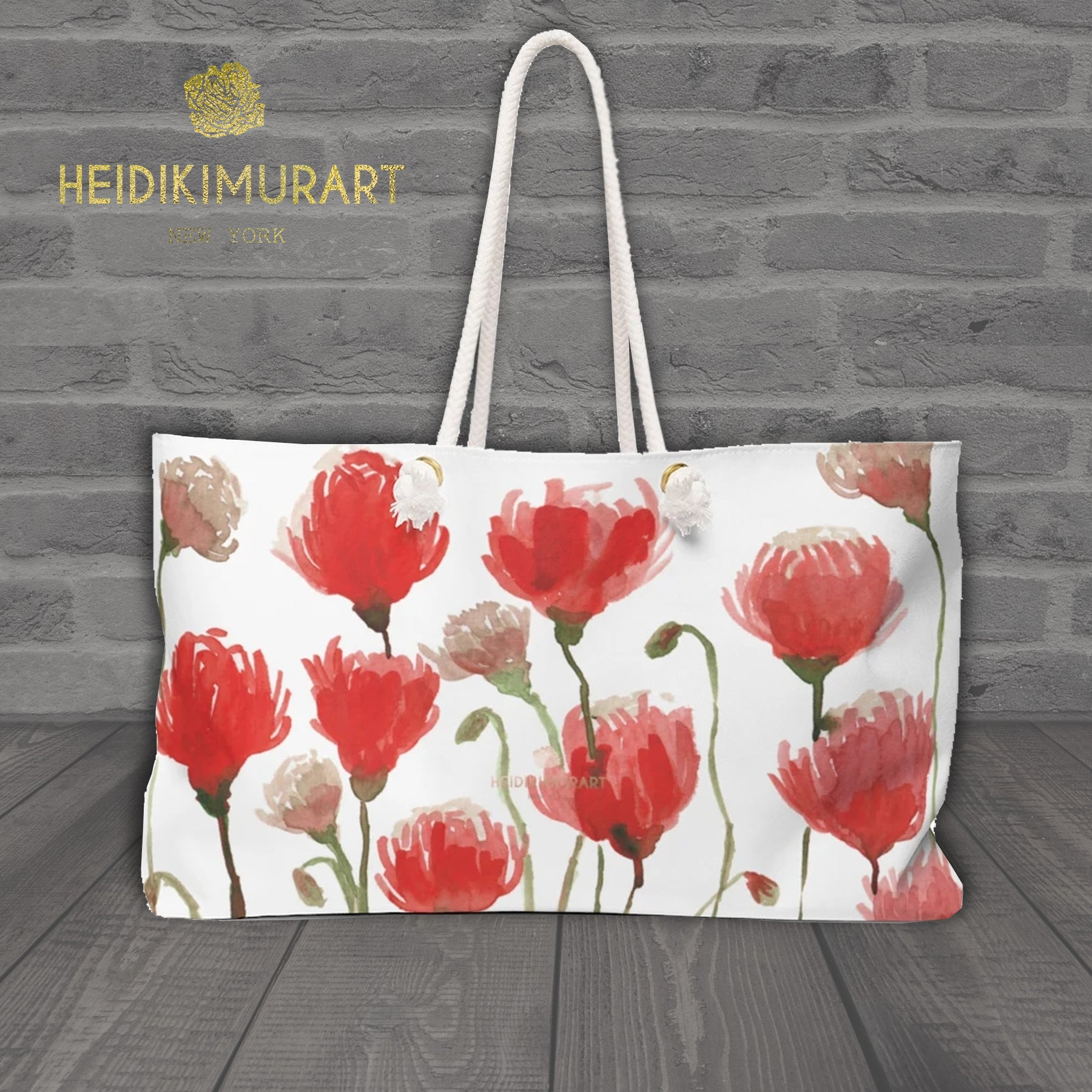 "White Red Poppy Flowers Floral Print Oversized Designer 24""x13"" Large Weekender Bag-Weekender Bag-24x13-Heidi Kimura Art LLC"