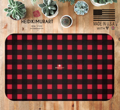 "Buffalo Red Plaid Print Designer Bathroom Anti-Slip 34""x21"", 24""x17"" Microfiber Bath Mat-Made in USA"
