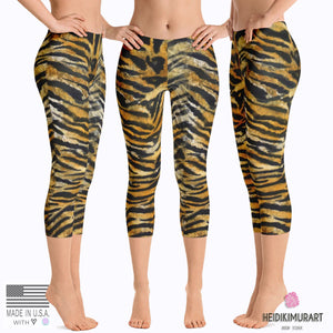 Tiger Striped Women's Capri Leggings, Bengal Tiger Stripe Animal Print Capri Leggings Casual Fashionable Athletic Tights Ladies Outfit - Made in USA/EU (US Size: XS-XL)