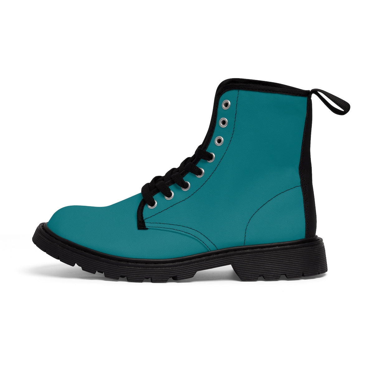 Blue Teal Women's Boots, Blue Teal Classic Solid Color Comfortable Designer Women's Winter Lace-up Toe Cap Combat Winter Blue Ankle Boots, Best Blue Boots For Women, Hiking Boots, Hiker's Boots (US Size 6.5-11) Blue Teal Classic Solid Color Designer Comfy Women's Winter Lace-up Toe Cap Boots-Women's Boots-Black-US 9-Heidi Kimura Art LLC