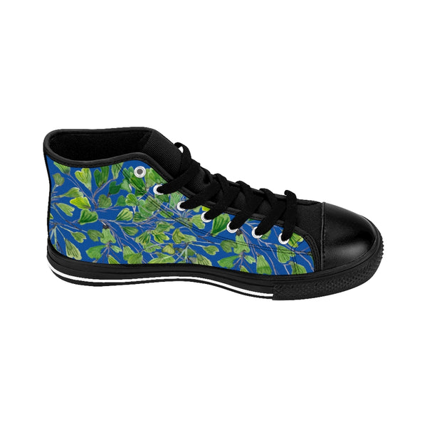 Blue Fern Men's High-top Sneakers, Green Cute Maidenhair Leaf Print Designer Men's High-top Sneakers Running Tennis Shoes, Fern Leaves Designer High Tops, Mens Floral Shoes, Tropical Leaf Print Sneakers (US Size: 6-14)