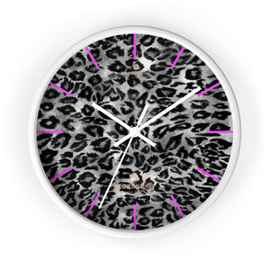 Jun Black Gray Leopard Spots Animal Print 10 in. Dia. Indoor Wall Clock- Made in USA