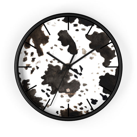 "Cow Print White Black Brown Indoor 10 in Dia. Wood Wall Clock-Made in USA,Animal Clock,Cow Farm Animal Clock,Farmhouse Animal Print Clock,Pretty Wall Floral Clock, Watercolor Housewarming Birthday Wedding Gift for Her Nakamura Cow Print White Black Brown Indoor Wooden Frame Plexiglass Face 10"" Diameter Wall Clock - Made in USA"