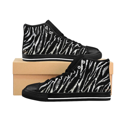 "Zebra Women's Sneakers, Striped Animal Print Designer High-top Sneakers Tennis Shoes-Shoes-Printify-Black-US 9-Heidi Kimura Art LLCZebra Women's Sneakers, Striped Animal Print 5"" Calf Height Women's High-Top Sneakers Running Canvas Shoes (US Size: 6-12)"